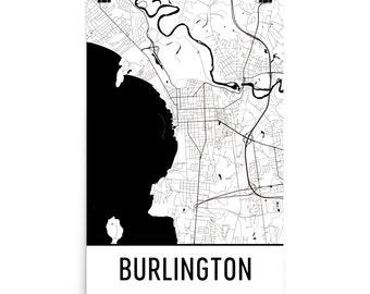 Burlington Map, Burlington Art, Burlington Print, Burlington VT Poster, Burlington Wall Art, Map of Burlington, Burlington Poster, Art, Gift