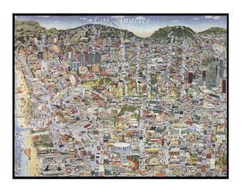Vintage Los Angeles Map CA Print Hand-Drawn L.A. California Art Retro Illustration Cartography Urban City Custom Fold-Out Drawing Poster