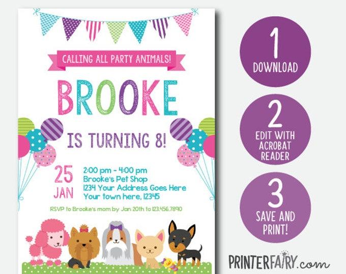 EDIT YOURSELF, Puppy Invitation, Pet adoption party, Puppy Birthday Party, Puppy Adoption, Digital Invitation, Instant Download