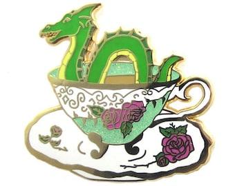Nessie Sea Serpent Loch Ness Monster Enamel Pin Glitter Teacup