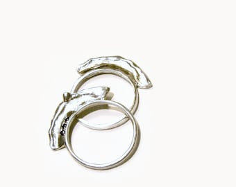 Silver ring necklace, Sterling silver ring, Raw silver Ring, Silver stacking ring, Sterling Silver Ring, Artistic Ring, Silver artisan ring