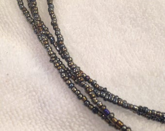 Vintage Iridescent Black Seed Bead Necklace