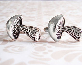 Silver mushroom cufflinks.  Wedding cufflinks. Groom gift. Groomsman gift. Best man gift. Father's day gift for him