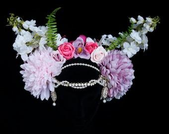 Flower Fairy Headpiece, Summer Festival Headdress, Spring Queen Flower Crown.