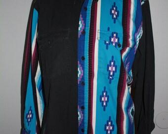 Black, blue and purple western shirt