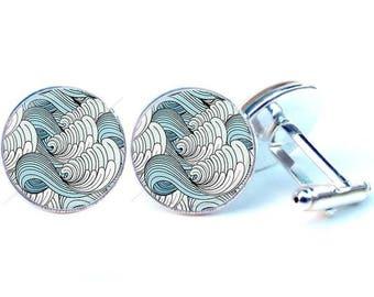 Cufflinks - wave - Japanese Glass cabochon