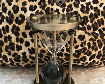 15 minute brass sand timer sculpture