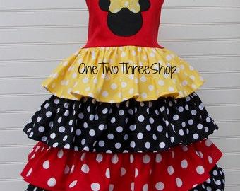 Minnie Mouse dress Layered ruffle Jumper Dress
