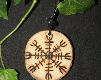 English Oak Helmet of Awe Pendant - Icelandic Rune Pendant for Strength - Pagan Pendant with Cord