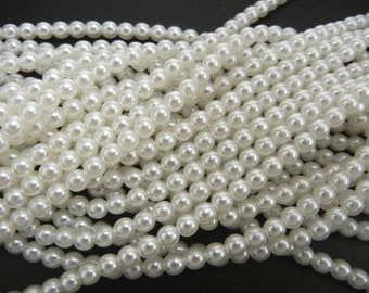 White Pearl, Czech Round Glass Imitation Pearls in 2mm, 3mm, 4mm, 6mm, 8mm, 10mm, 12mm (Bridal White)