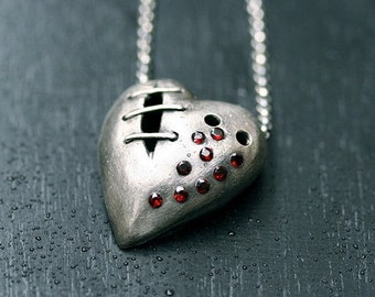 My Bloody Valentine Sutured Heart Necklace Sterling Silver Garnet Free Domestic Shipping