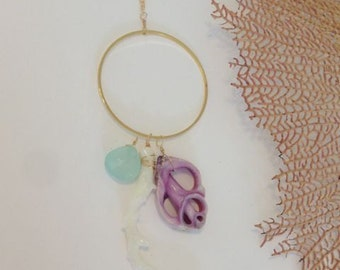 Natural White Coral, Aqua Chalcedony and Purple Sliced Seashell 14kt Gold Filled Long Necklace