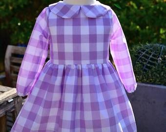 Leighton Peter Pan Collar Long Sleeve Lavender Gingham Dress