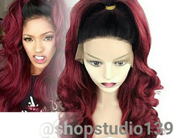 Burgundy ombre dark roots lace front wig 24inches