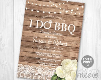 Rustic I Do BBQ Engagement Shower Invitation Couple's Printable Invite Party INSTANT Download Lights Roses Flowers Lace Editable Printable
