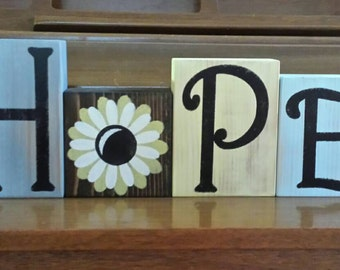 HOPE, Decorative Block Letters, Decorative Letter Blocks, Wood Block Letters, Wall Letters Decor, Decorative Wood Blocks, Handmade