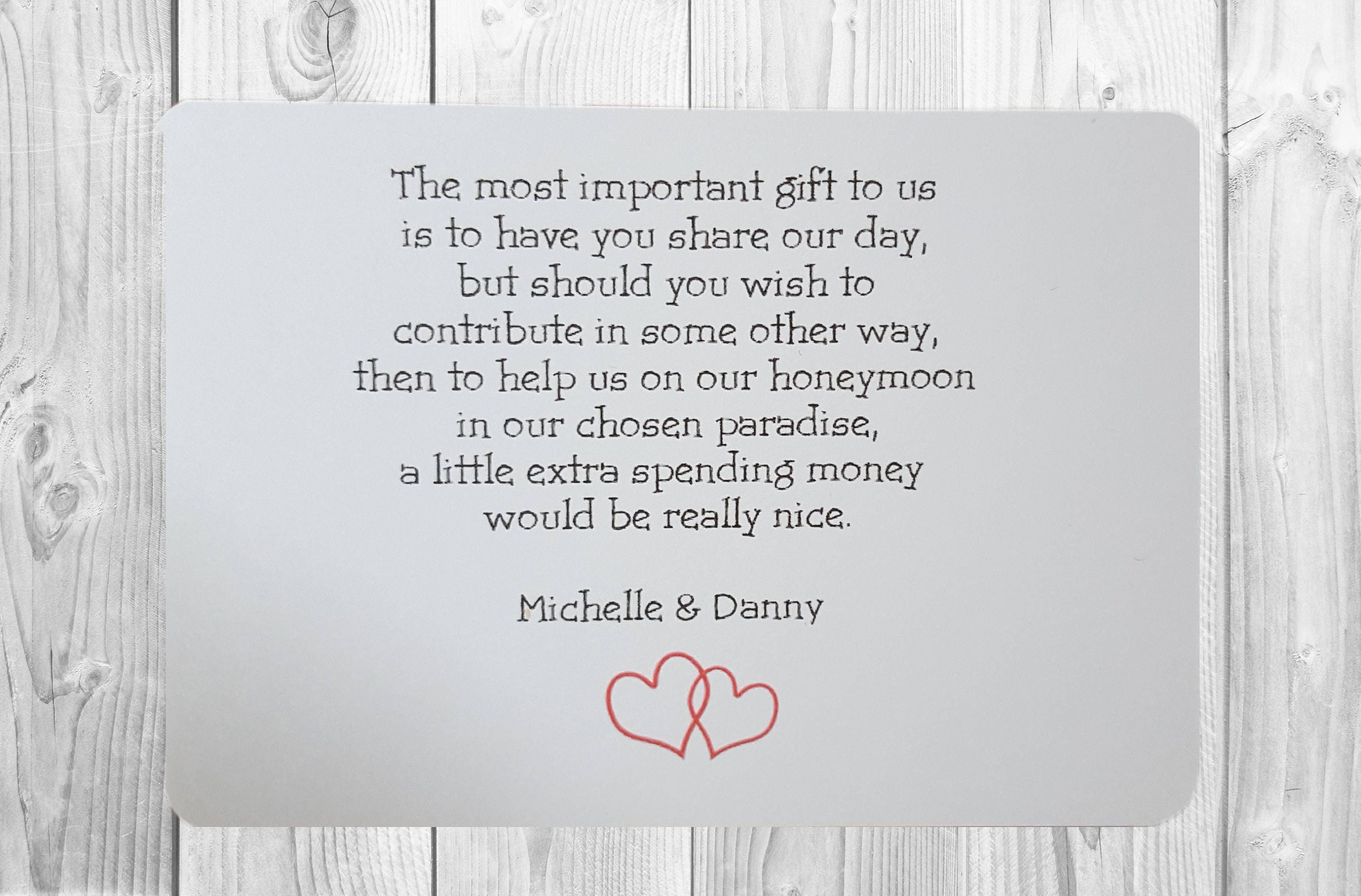 10 x personalised wedding money wish poem / gift poem cards /