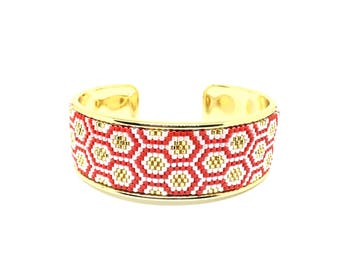 Bee Apis red and gold cuff beadwoven miyuki mounted on rigid support
