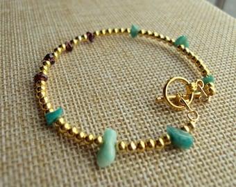 Ladies bracelet with semi precious beads of Russian Amazonite and Garnet, Christmas gift, Birthday, Anniversary