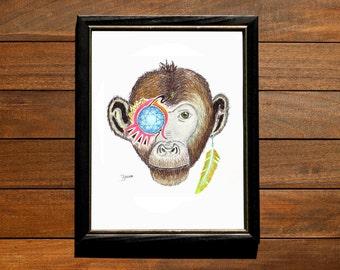 Monkey Diamond Eye Wall Art Print