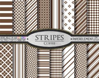 Stripe Printable Digital Paper Pack in Coffee - Scrapbooking Backdrops - Instant Download