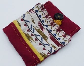 Amerindian styled checkbook cover in cotton and jacquard