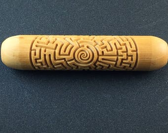 Labyrinth  12cm Wood Hand Roller for Clay, Pottery, Ceramic Impression Stamp Mountain Pine BHR29