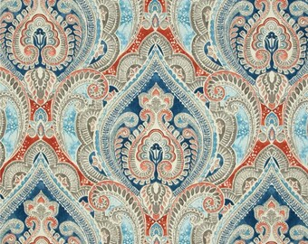 """Two  96"""" x 50"""" Custom Curtain Panels - Indoor Outdoor - Large Damask -  Blue Grey Coral  White"""
