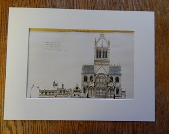Cathedral Church of St John the Divine, New York, NY, 1890, Parfitt Bros., Architects. Hand Colored, Original Plan. Architecture, Vintage,