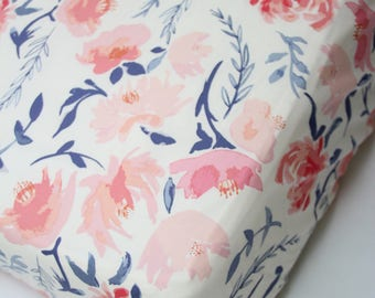 Blush Pink Floral and Coral Peach Fitted Crib Sheet, Mini Crib Sheet or Changing Pad Cover