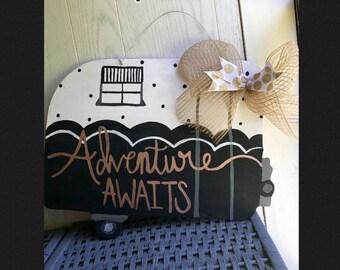 Camper door hanger, adventure awaits door hanger, summer door hanger, camper sign
