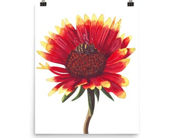 Blanket red flower art print/ African floral watercolor painting / home or office wall decor.