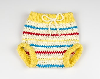 CROCHET PATTERN - Crochet Baby Pants Retro Chic - Baby Shorts - Baby Diaper Cover - PDF