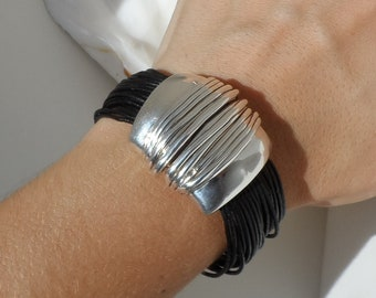 Or Paz Sterling Multi-strand Leather Bracelet with Magnetic Clasp