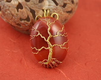 Red veins agate gold-plated wire-wrapped Tree of Life pendant, Yggdrasil, World Tree pendant