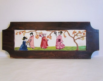 Vintage Framed Asian Art Embroidery Japanese Wall Art Vintage Embroidery