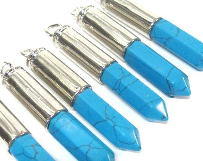 1 Pendant - Blue turquoise color howlite stone hexagon point pendant - PM334C
