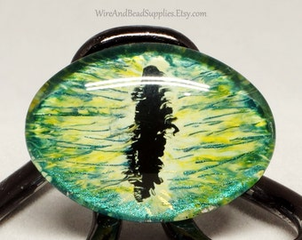 Green Dragon Eye Cabochon  Glass Eye 25x18mm Round Hand Painted