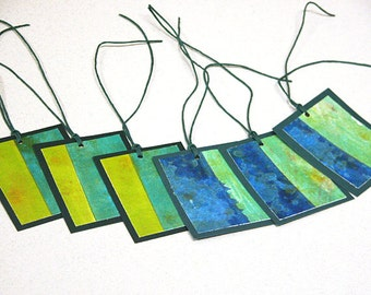 Hand-painted gift tags -- set of 6 blue green colorblock tags GT-28