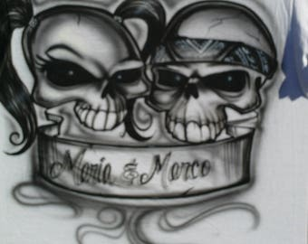 Skull Couple Airbrushed on T-shirt