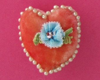 Heart Brooch, Heart Pin, Brooch, Felted Pin, Romantic Heart Pin