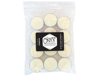 Bourbon Scented - 12 Pack Tea Light Soy Candles