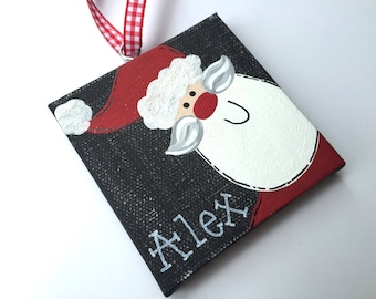 Personalized Hand Painted Santa ornament