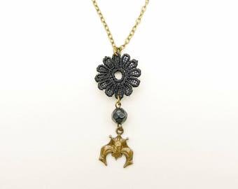 Bat necklace, lace necklace