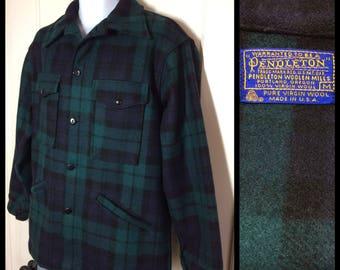 1960s Pendleton virgin wool mackinaw jacket coat made in USA dark green blue plaid size Medium barely used condition lumberjack