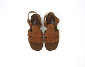 Dark Brown Leather Sandals Strappy Leather Shoes Women's Boho Open Toe Sandals Walking Shoes Vintage Womens Shoes Size 7.5