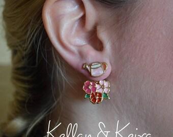 Flower Earrings / Ear Jackets / Gardening Lover / Spring Earrings / Valentine Gift / Gift For Her / Gift For Mom