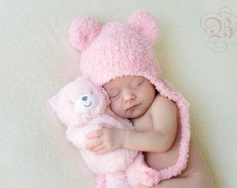 Bear Hat, Knit Bear Ear Hat, Photo Shoot Hat, Teddy Bear Hat, Ear Flap Knit Hat, Animal Hat