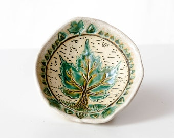 Maple Leaf Bowl, Stoneware Pottery, Nature Art, Footed Bowl, Coffee Table Dish, Wisconsin Art, Maple Tree, Woodland Art, Northwoods