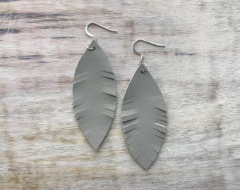 Gray Feather Leather Earrings